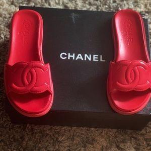 Chanel Patent Calfskin Sandals